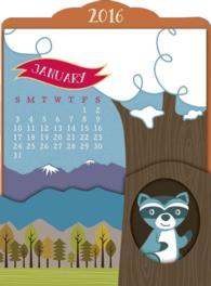 Woodland Creatures Easel 2016 Calendar (DES)